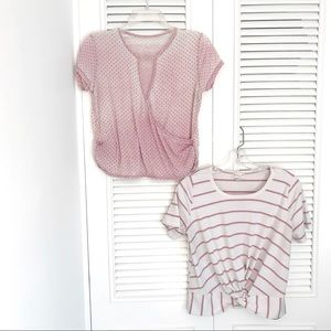 Lot of Two Short-Sleeved Crop Tops! (Size Large)
